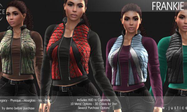JUSTICE - Frankie Vest. Individual L$250 | Mini Packs L$500-L$800 | Fatpack L$1400. Demo Available ★.