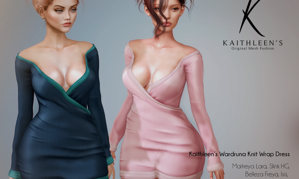 Kaithleen's - Wardruna Knit Wrap Dress. Individual L$249 | Fatpack L$1799. Demo Available ★.