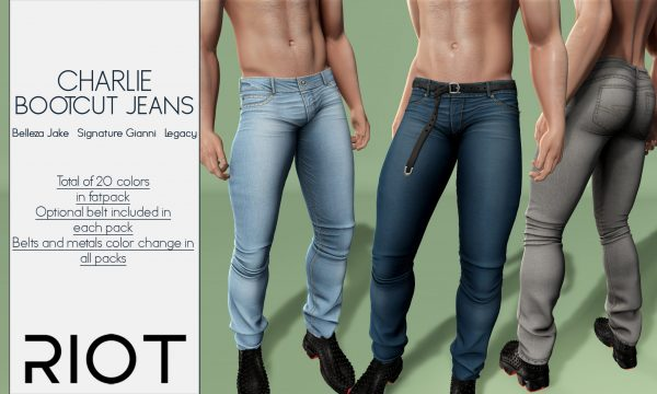 RIOT - Charlie Jeans. Individual L$199 each | Fatpack L$1,299. Demo Available.