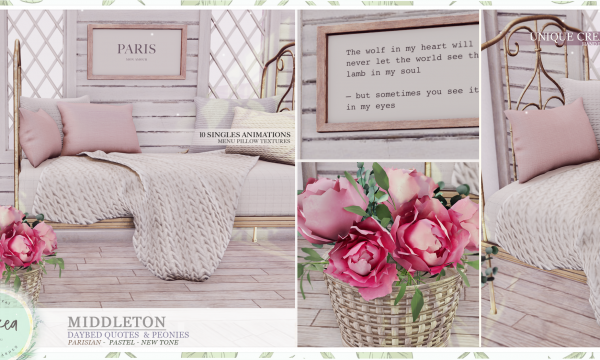 ariskea - Middleton. Decor Pieces L$129 - L$329 | Fatpack L$999.