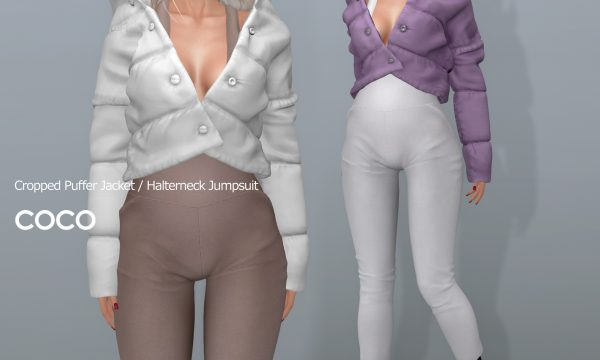 COCO - Cropped Puffer Jacket & Halterneck Jumpsuit. Individual L$225 - L$275 | Fatpack L$1199 - L$1399. Demo Available ★.