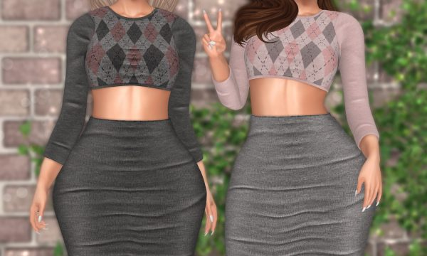 ChicModa - Bellita Crop Sweater & Pencil Skirt. Individual L$199 each | Fatpacks L$799 | Mega Pack L$1,299. Demo Available ★.