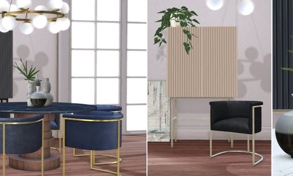 Loft & Aria - Lugano Set. Dining Chair L$350 each | Dining Table L$280 each | Tall Cabinet L$250 each | Pendant Light L$200 each |  Vases L$100 | Print L$100 | Heartleaf Plant L$100 | Full Set L$3000.