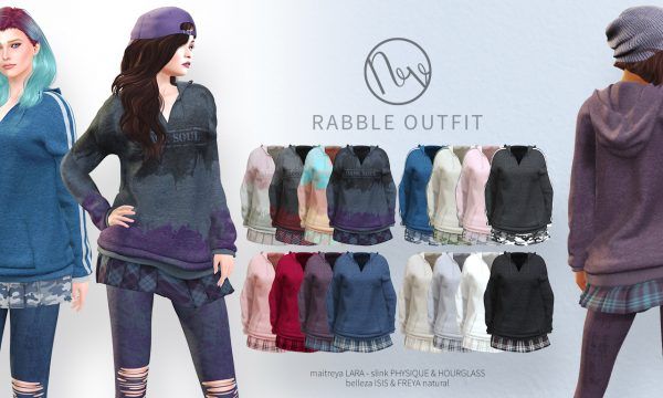 Neve - Rabble Outfit & Stone Jacket. Minipacks L$200 - L$250 each | Fatpacks L$600 - 750 each. Demo Available ★.