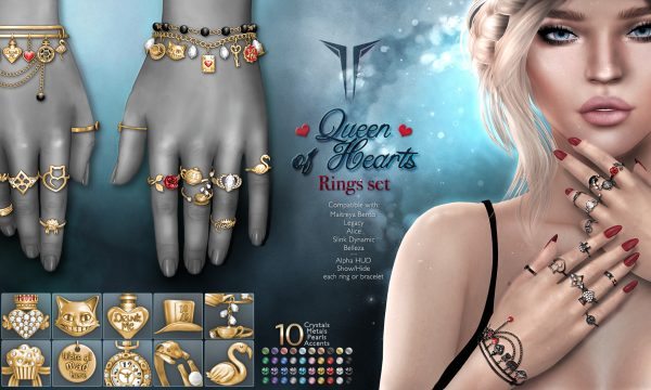 RealEvil Industries - Queen of Hearts Rings Set. L$499 Demo Available.