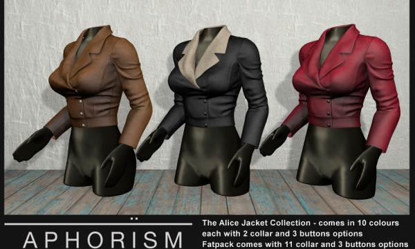 !APHORISM! - Alice Jacket. Individual L$299 | Fatpack L$1399. Demo Available ★.