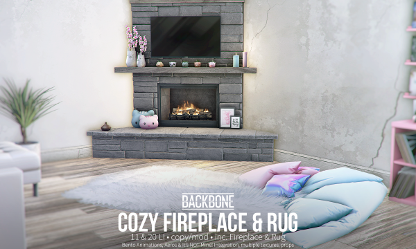 BackBone - Cozy Fireplace & Rug. PG L$799 | Adult L$2199 | Fatpack L$3199.