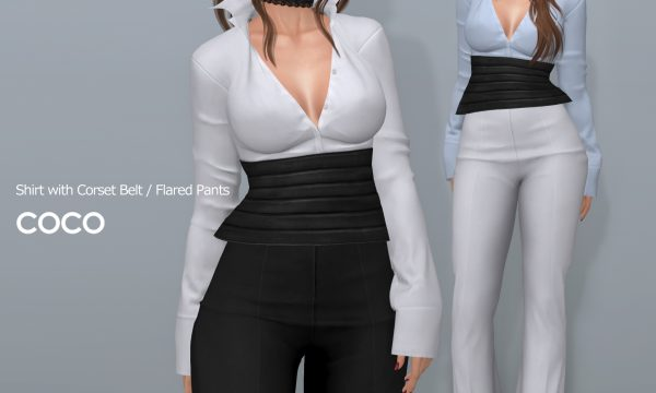 COCO - Shirt With Corset Belt & FlaredPants. Individual L$225-L$250 | Fatpack L$699-L$1,199. Demo Available ★.