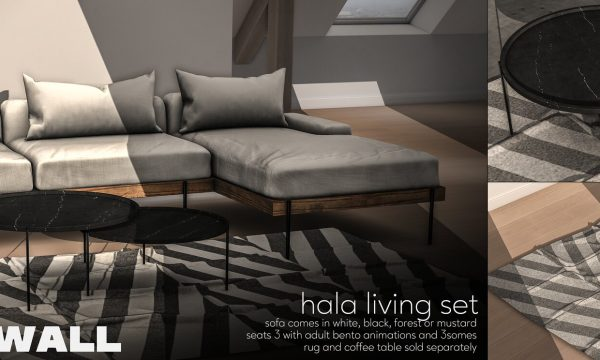 Fourth Wall - Hala Set. PG L$499 | PG Fatpack L$999 | Adult L$799 | Adult Fatpack L$1299 | Rug L$220 | Coffee Table L$220.