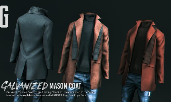 GALVANIZED. - Mason Coat. Individual L$299 | Fatpack L$999. Demo Available.