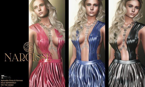 Narcisse - Aphrodite Dress & Aphrodite Harness. Individual L$249 | Fatpack L$1,099 | L$399. Demo Available.