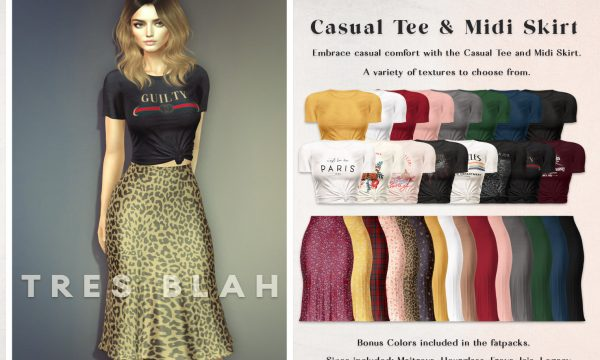 Tres Blah - Casual Tee & Midi Skirt. Individual L$230 | Fatpack L$1300. Demo Available.